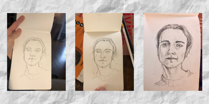 Three pictures of Jaime's progress as she draws herself.