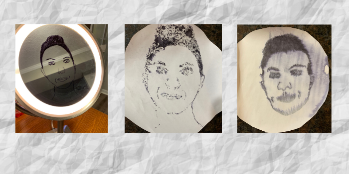 Three different images showing how I created my own self-portrait by tracing my reflection.
